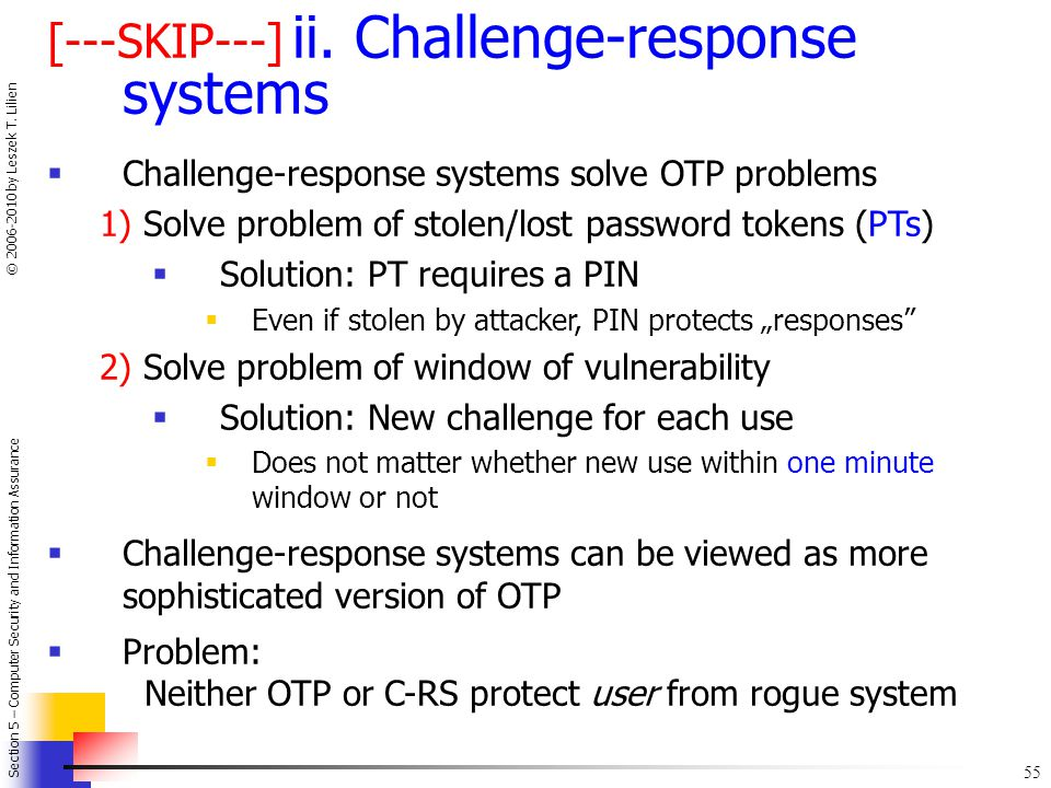 [---SKIP---] ii. Challenge-response systems